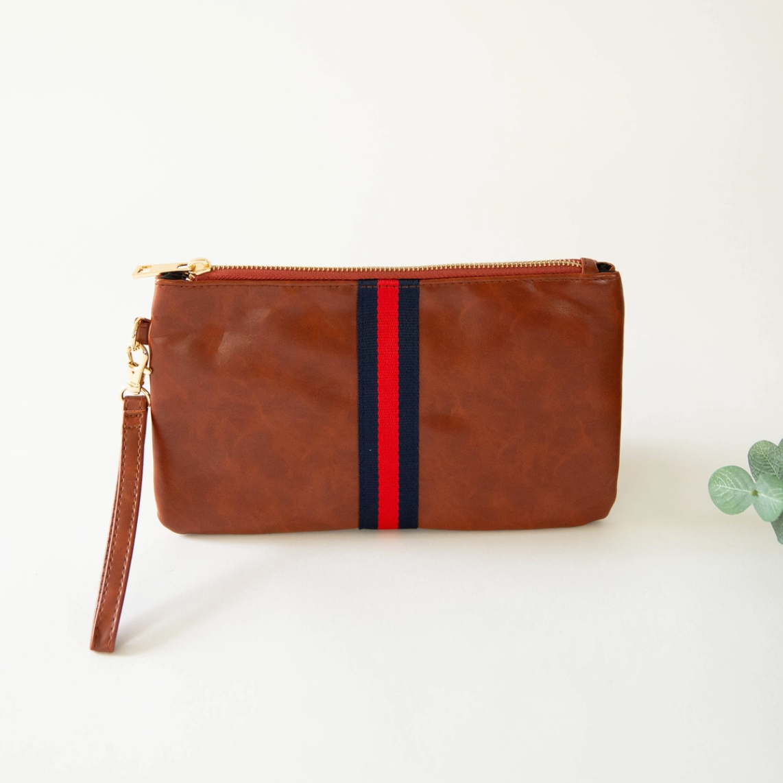 Preppy red/navy stripe zipper clutch