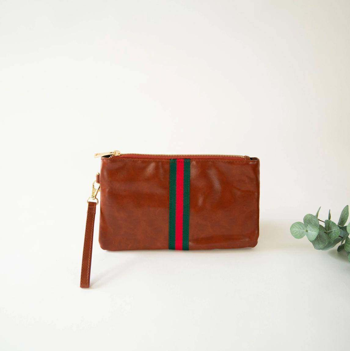 Preppy red/green stripe zipper clutch