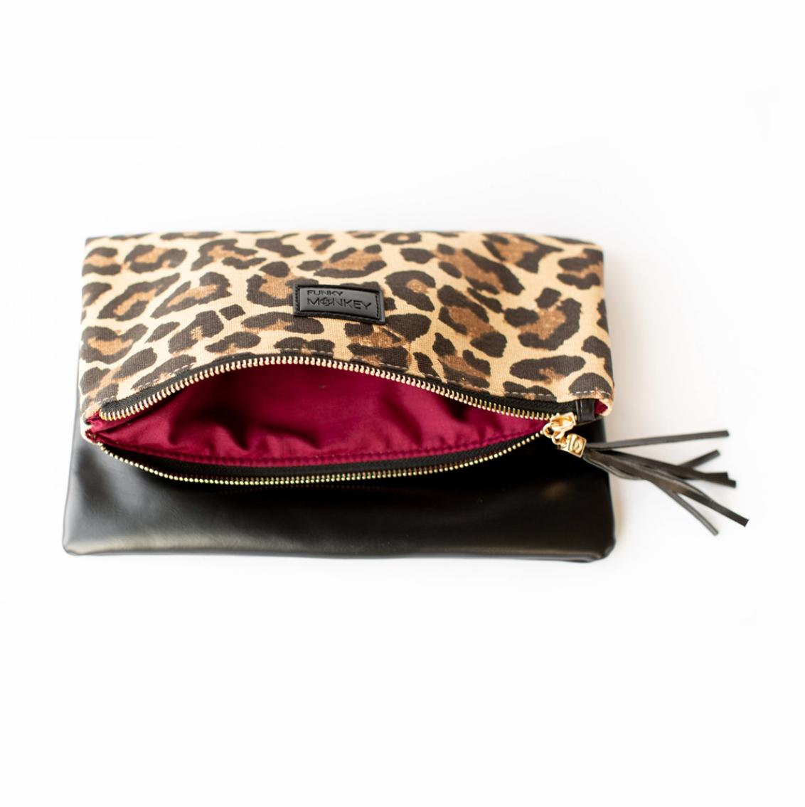 Foldover clutch leopard