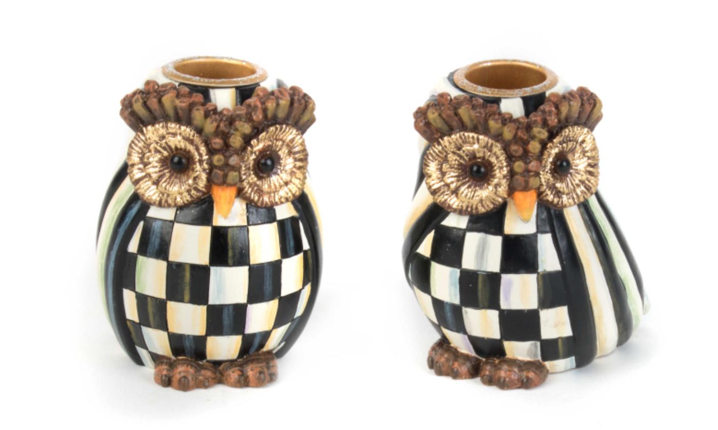 Owl candlesticks set