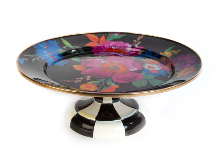 Flower market pedestal platter small black