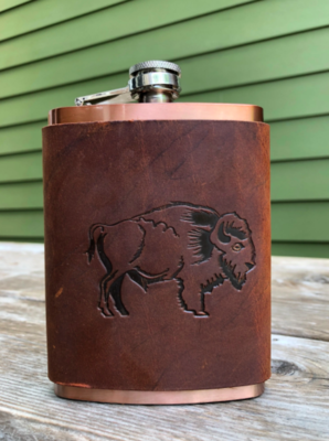 Buffalo Bison Leather Wrapped Copper Flask