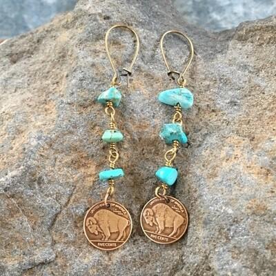 Buffalo bison turquoise bronze earrings