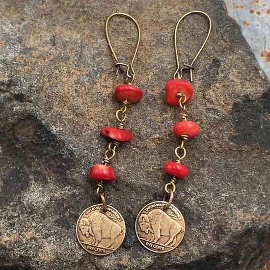 Buffalo bison red bronze western earrings
