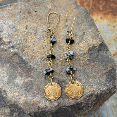 Buffalo bison black & gray bronze earrings