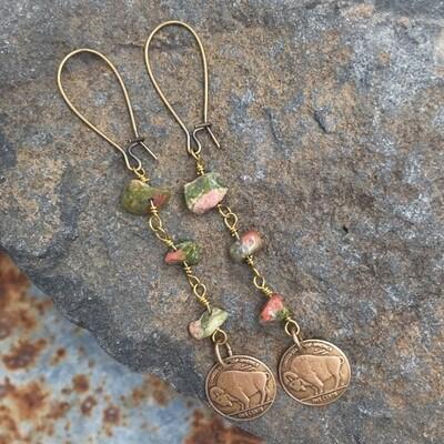 Buffalo bison green bronze earrings