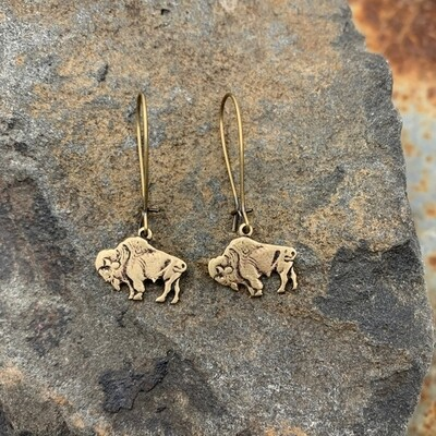 Buffalo bison antique bronze earrings