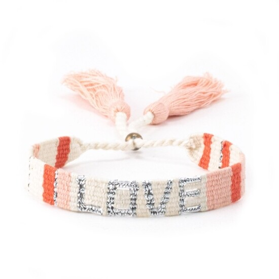 Love bracelet white, peach, and orange