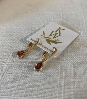 Birthstone garnett teardrop earrings