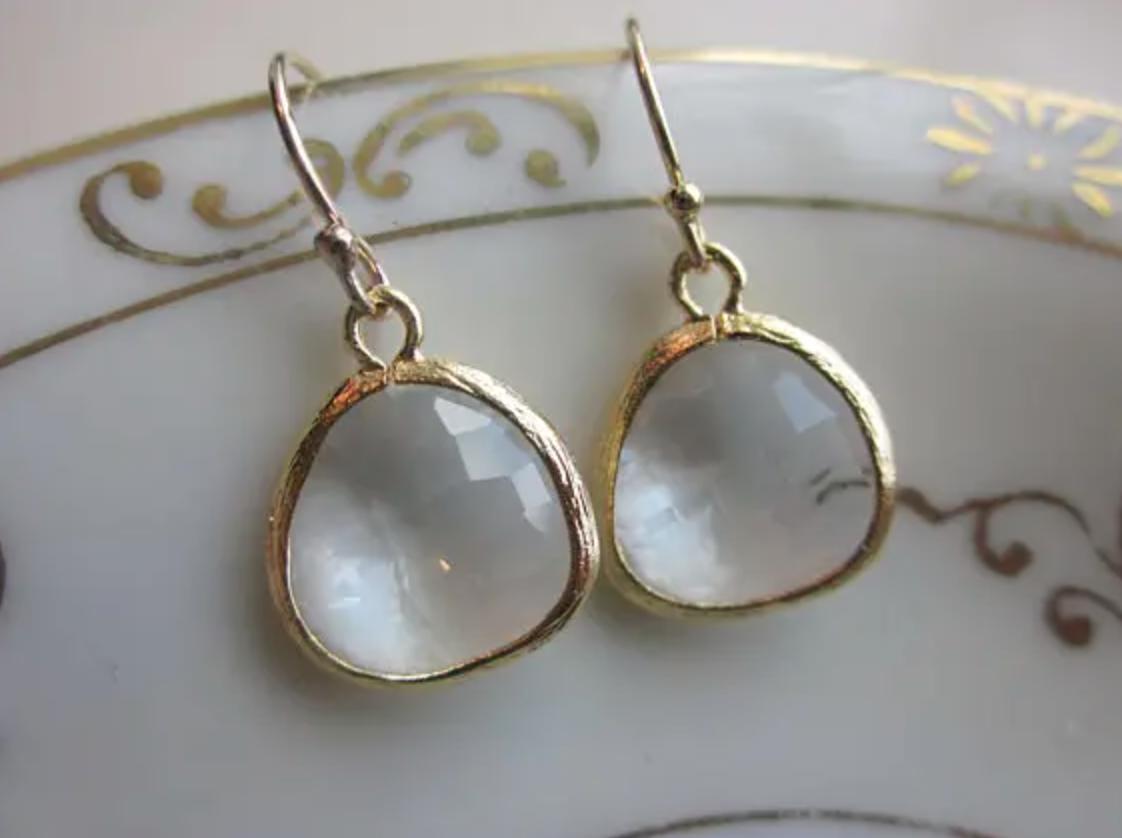 Gold clear crystal earrings