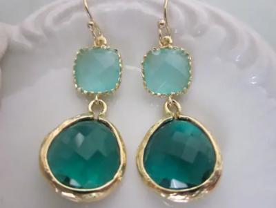 Emerald green/aqua mint earrings