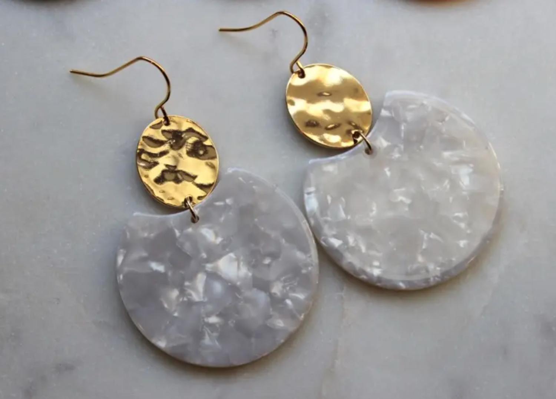 White acrylic resin earrings