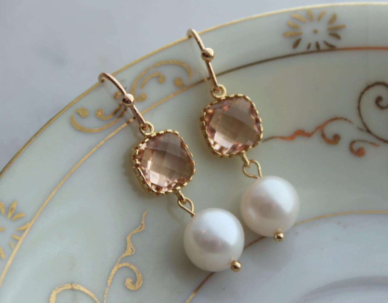Gold blush pearl earrings
