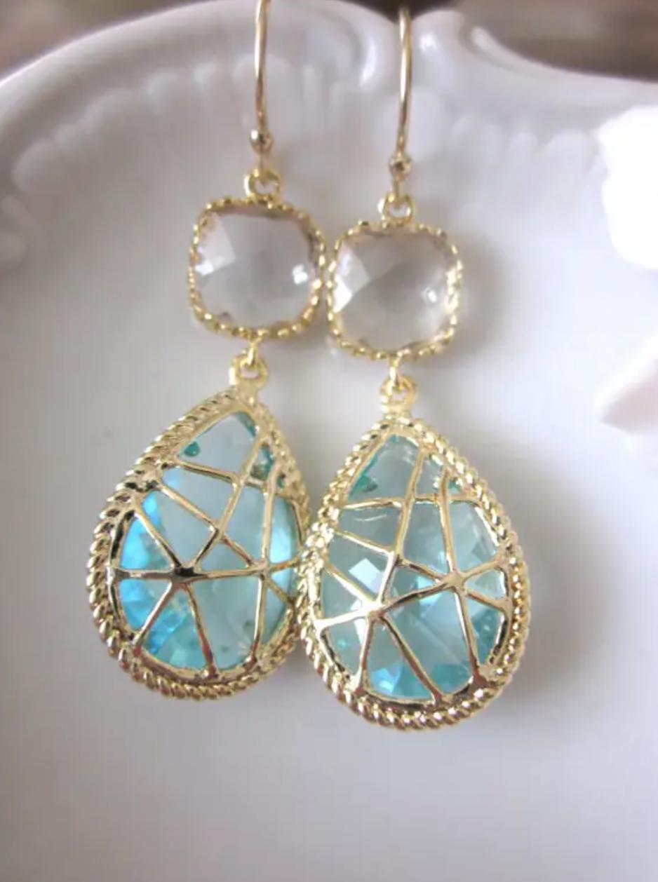 Gold crystal aquamarine earrings