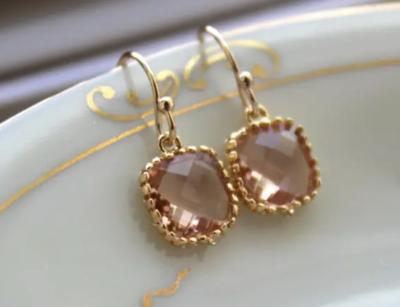 Champagne blush dainty earrings