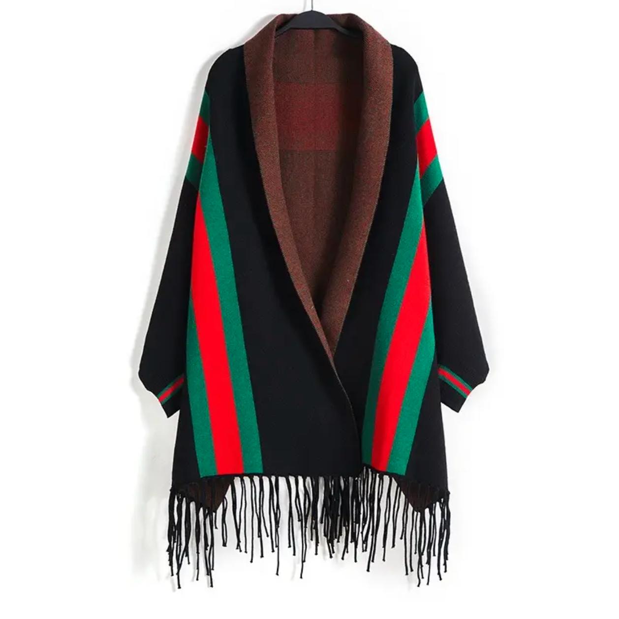 Striped Sleeve Wrap Black