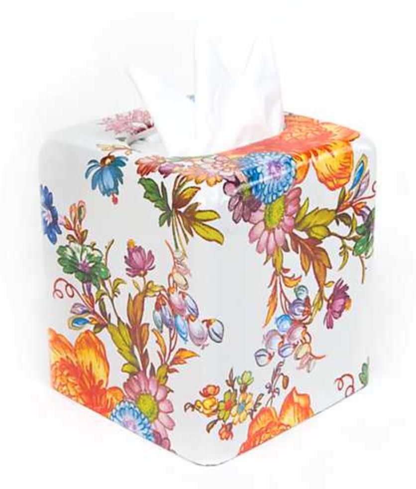 Flower Market Boutique Tissue Box Cover - White