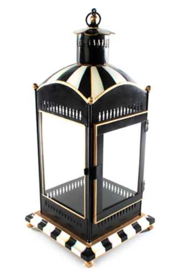 Courtly Stripe Candle Lantern - Large