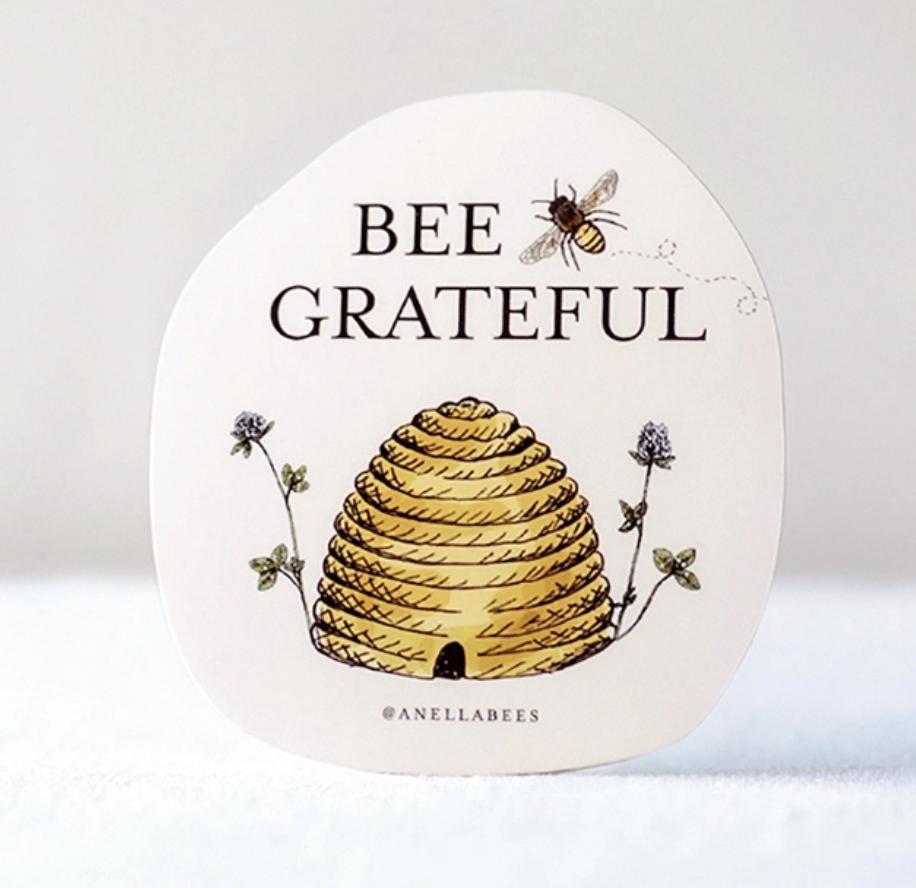 Sticker bee grateful