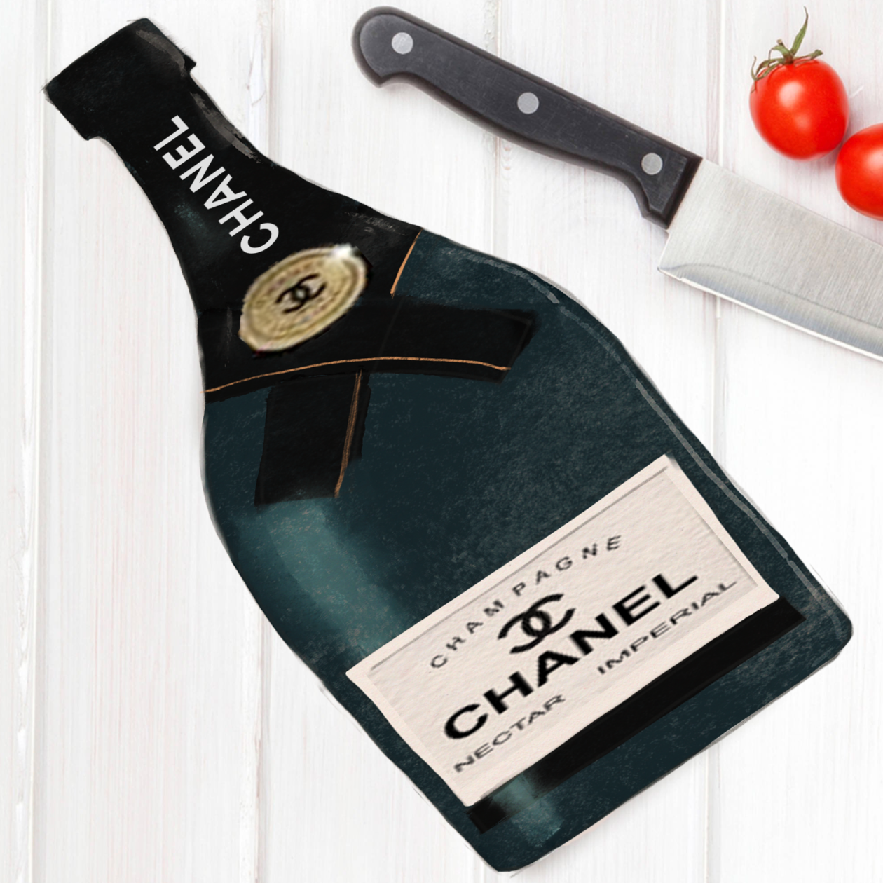Chanel champagne cutting board