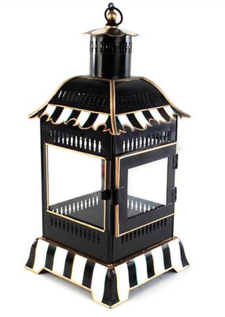 Courtly Stripe Candle Lantern Small