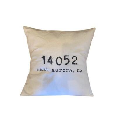 EA zip code cotton canvas pillow