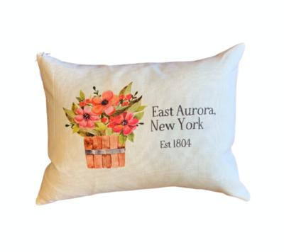 East Aurora, NY Floral Bucket Lumbar Pillow