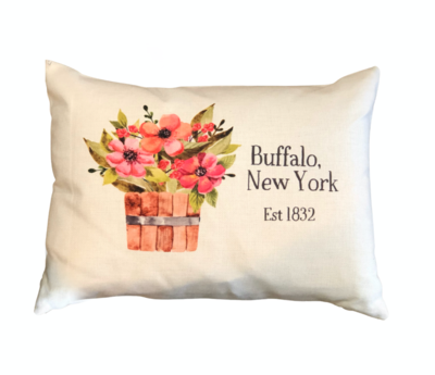 Buffalo, NY Floral Bucket Lumbar Pillow