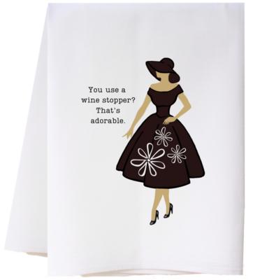 Flour Sack Towel Wine Stopper