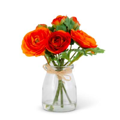 "6.75"" Orange Ranunculus Bouquet in Glass Jar"