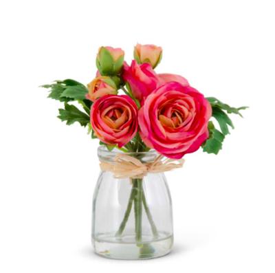 "6.75"" Pink Ranunculus Bouquet in Glass Jar"