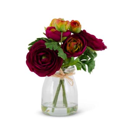 "6.75"" Purple Ranunculus Bouquet in Glass Jar"