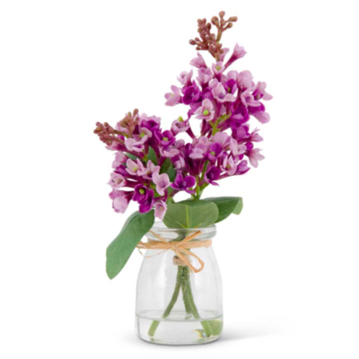 """9.25"""" Purple Lilac in Glass Vase"""