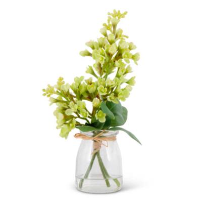 """9.25"""" White Lilac in Glass Vase"""