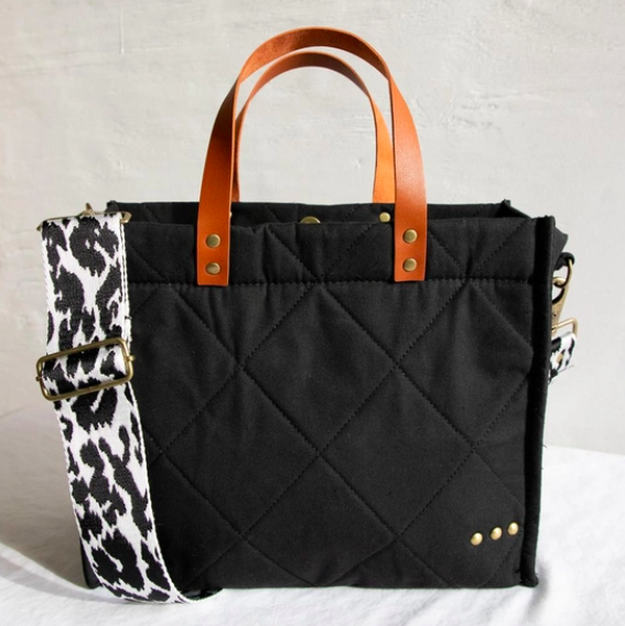Carrie Crossbody Tote Black Quilted