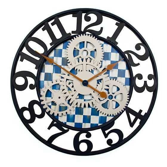 Royal check farmhouse wall clock small
