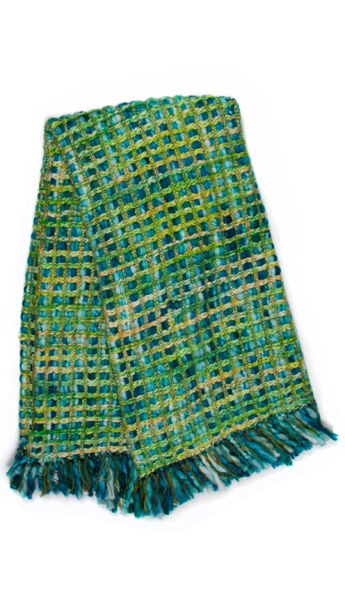 Basket Weave Throw - Peacock