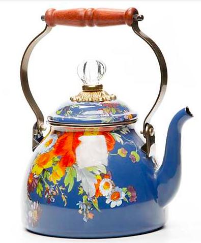 Flower Market 2 Qt. Tea Kettle - Lapis