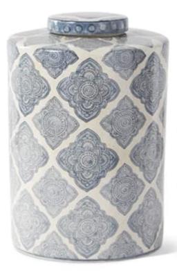 "13"" Ornate Quatrafoil Ceramic Lidded Canister"