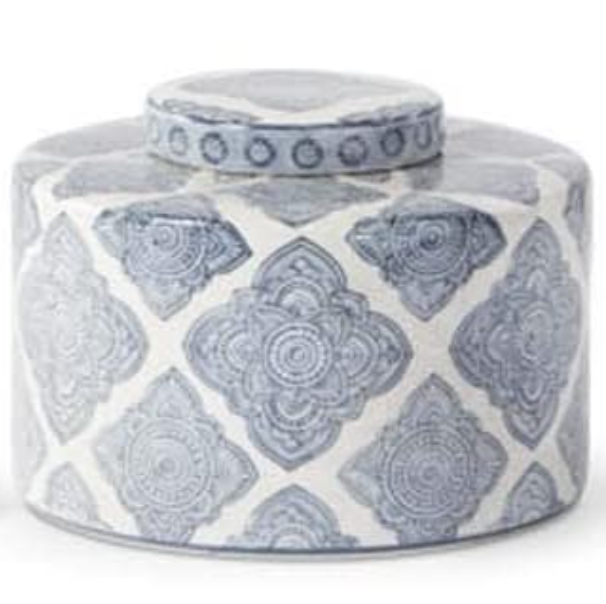 "6"" Ornate Quatrafoil Ceramic Lidded Canister"