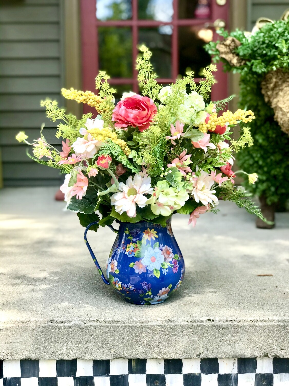 Flower Garden Pitcher Lapis Flower Arrangement