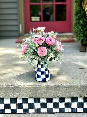 Royal Check Practical Pitcher Small Flower Arrangement