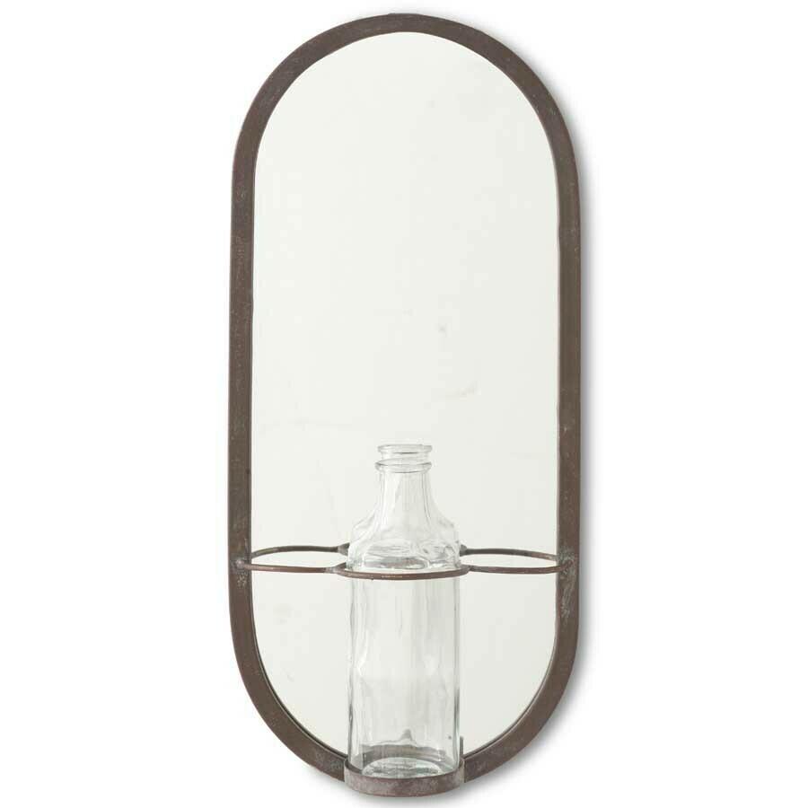 Metal Frame Mirror w/ Glass Bottle
