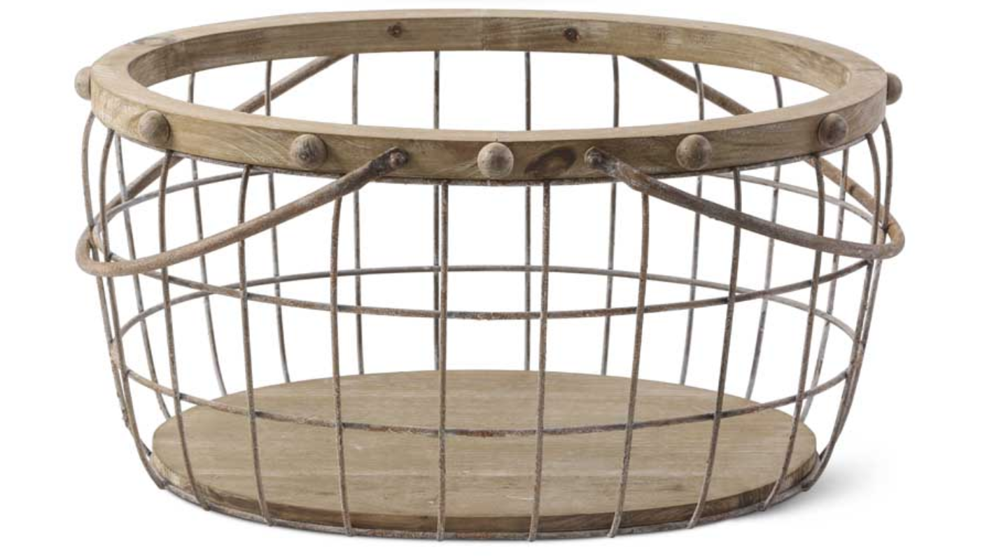 Wood & Wire Oval Basket Large