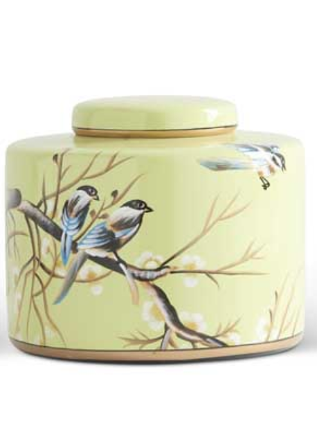 "7"" Green w/ Song Birds Ceramic Lidded Canister"