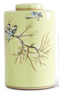 """14"""" Green w/ Song Birds Ceramic Lidded Container"""