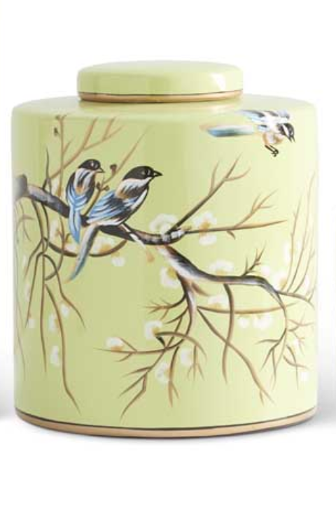 """9.5"""" Green w/ Song Birds Ceramic Lidded Container"""