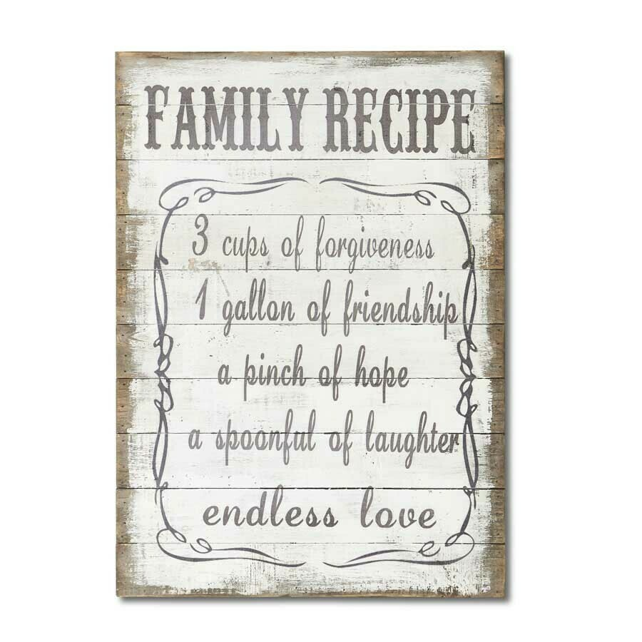 Family Recipe Wooden Wall Plaque