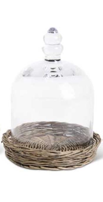 "10"" Glass Cloche on Wicker Tray"