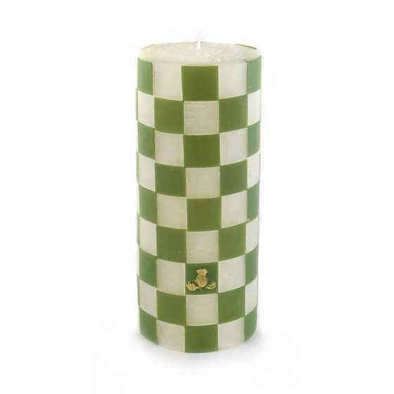 """Check Pillar Candle 6"""" Green"""